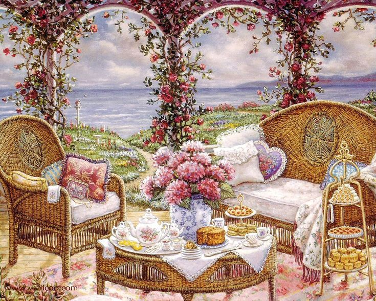 Gardens and Florals Art Paintings - Romantic Realistic Paintings by Janet Kruskamp  Wallpaper