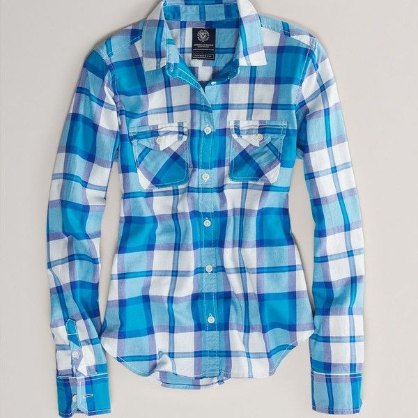 AE Favorite Light Flannel Shirt (46 CAD) ❤ liked on Polyvore featuring tops, blue, button front shirt, american eagle outfitters, shirt tops, plaid top and flannel shirts