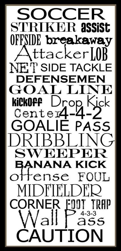 Soccer word art...could use select words for other decor, such as word garlands or word balloon tassels