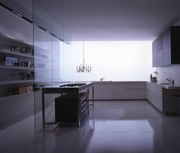 Boffi kitchens -  floating cabinets under floating island