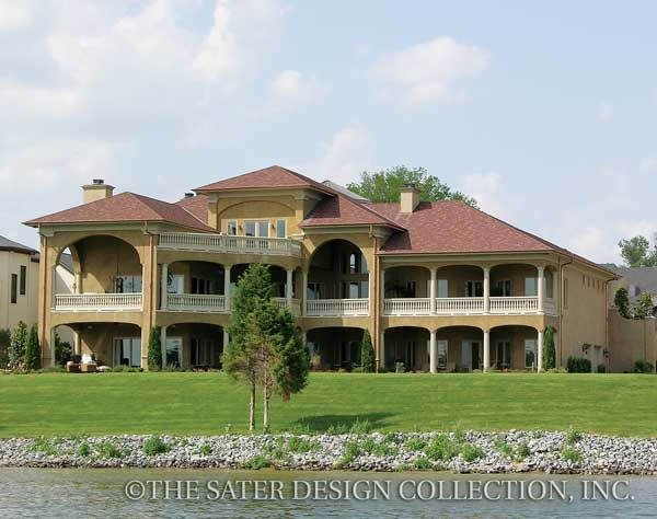 rear elevation of the sater design collections tuscan luxury home plan villa sabina