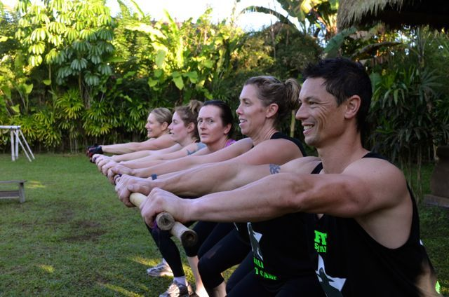 Who needs an air-conditioned gym? Bamboo gear works for us. http://www.sharingbali.com/retreats/