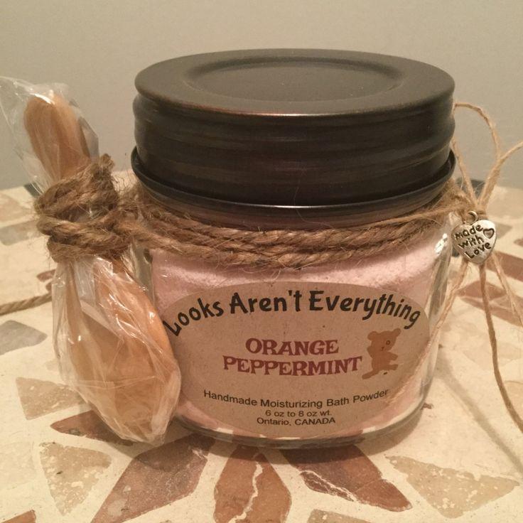 Homemade bath powder, orange scented, essential oils, bath fizzie, bath fizz, bath bomb, moisturizer, gift for mom, gift for friend by LooksArentEverything on Etsy