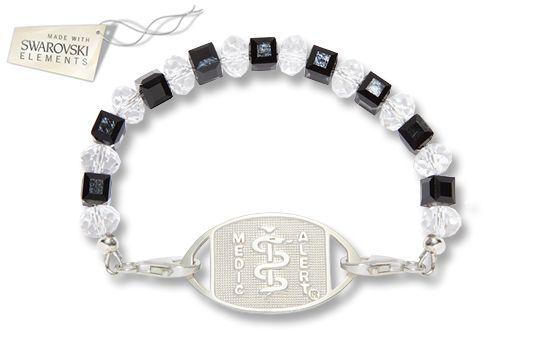 Sterling Silver Midnight Crystal Bracelet - Standard Emblem (Made with SWAROVSKI ELEMENTS)   Australia MedicAlert Foundation  #medicalert #medical_ID #medical_bracelet #medical_bracelet #safety #swarovski
