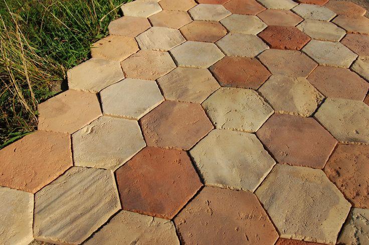 Antique reclaimed handmade terracotta floor tiles from central europe hexagon terracotta for Exterior terracotta floor tiles
