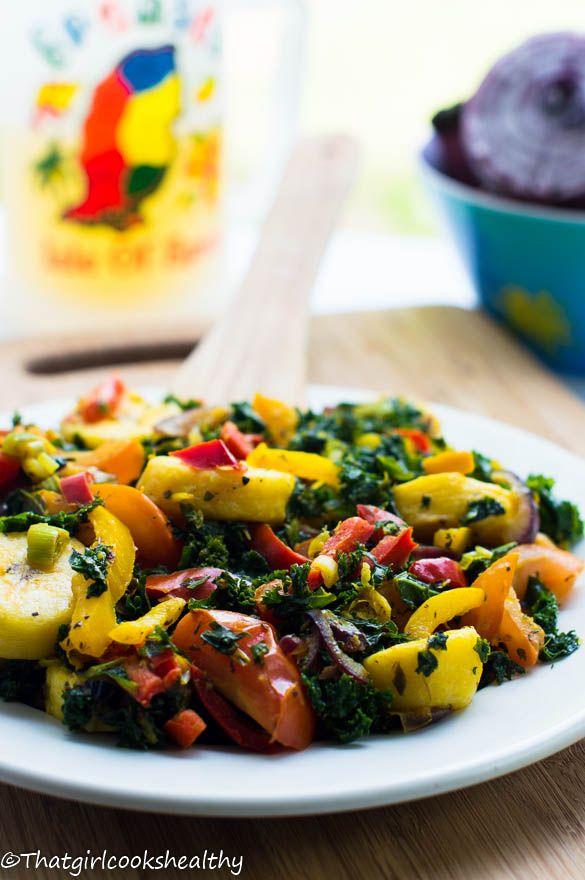 Boiled plantains with curly kale - A healthy dose of the Caribbean