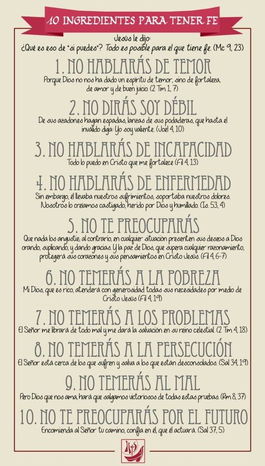 10 ingredientes para tener fe