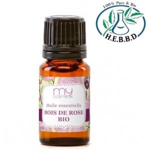 Huile essentielle de Bois de Rose 50 ml d'huile végétale de germe de blé (Triticum vulgare), 50 ml d'huile de bourrache (Borago officinalis) (ou nigelle (Nigella sativa) ), 25 ml d'huile de rose musquée (Rosa rubiginosa) (ou argan) + 30 gouttes d'huile essentielle de lavande (ou de géranium) + 15 gouttes d'huile essentielle de cêdre de Virgine (Juniperus virginiana) + 20 gouttes d'he de bois de rose