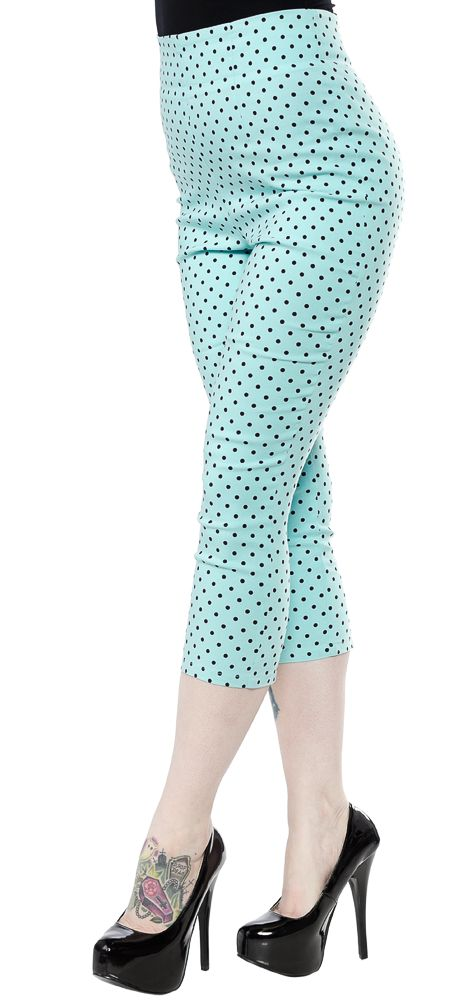 HELL BUNNY KAY POLKA DOT CAPRIS AQUA/BLK - The Kay Capris from Hell Bunny will have you looking and styled like the 1950's. These pedal pushers feature all over contrasting polka dots, darts in the front to shape, and a semi-hidden back zipper. They have stitched seams that give them an extra fitted look to show off your curves and v-shaped accents on the back of the legs.