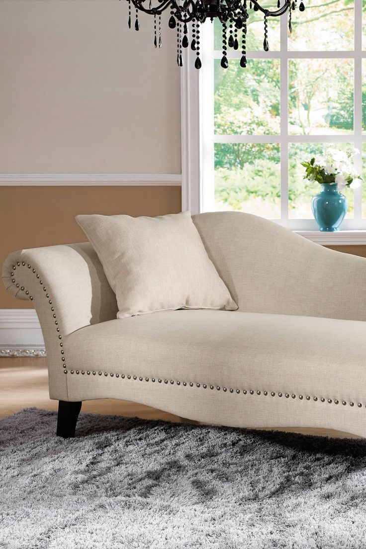 Phoebe beige linen modern chaise lounge see white - Chaise Lounge