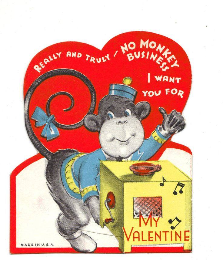Vintage Valentines Day Card - Organ Grinder's Monkey