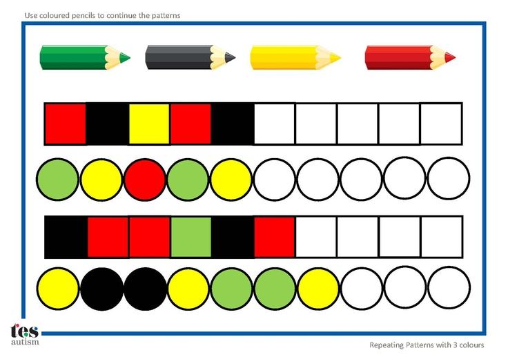 Repeating patterns with 3 colours: 4 worksheet activities: pupils continue the patterns using coloured pencils. Layout is uncluttered and visual. Activity could also be laminated and completed using dry wipe markers.