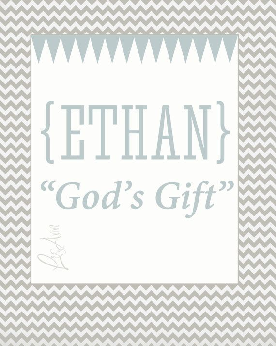 Ethan Custom Name Meaning Print for Baby by CustomArtbyLeslieAnn, $15.00