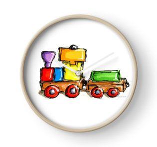 """Wooden train toy "" Clocks by cardwellandink | Redbubble"