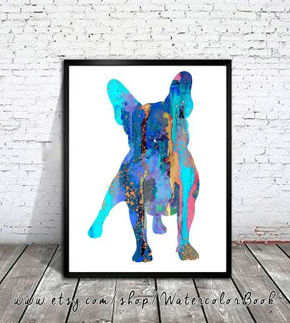 French Bulldog Watercolor Print, French Bulldog Art, Home Decor, dog…
