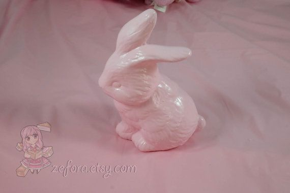 Pink Bunny Hand Painted Ceramic Ornament Home Decor by zefora