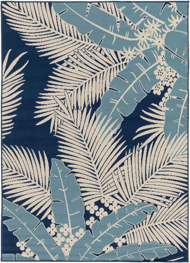 New!  Large area rug design of dark blue palm fronds create a fantastic new look for an outdoor room.