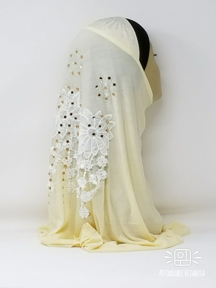 Amour Al Amira Hijab $24.99 Amour Al Amira Hijab with beautiful Lace Applique And Rhinestone Ivory 1pchttps://store13211292.ecwid.com/#!/Amour-Al-Amira-Hijab/p/101697893