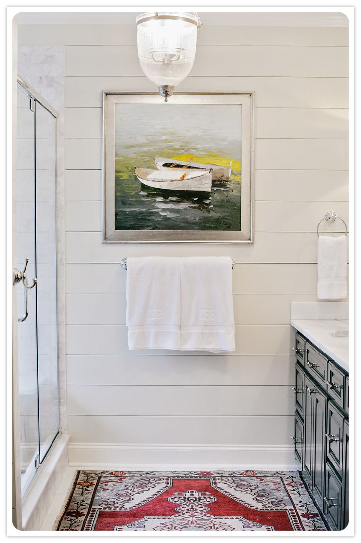 White Planked Bathroom Walls, Art In A Bathroom, And Gorgeous Light Fixtures