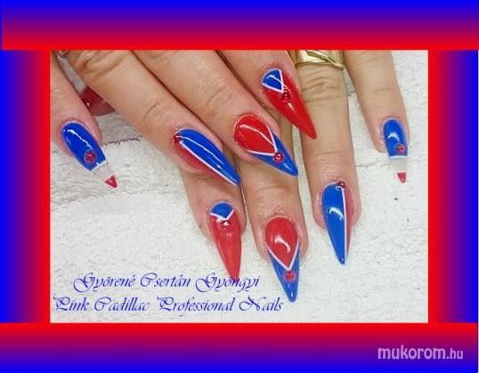 Blue and red nail art