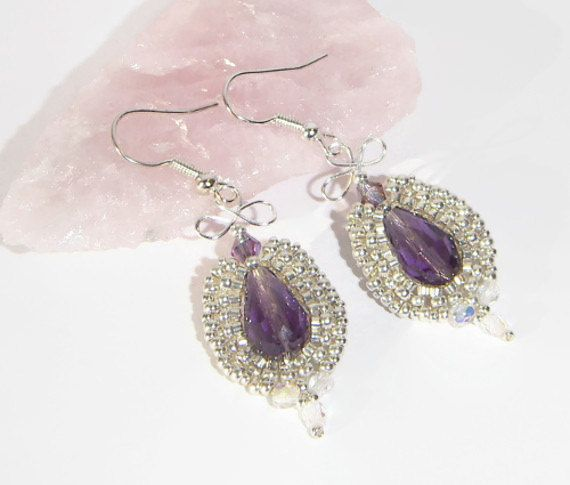 Beaded Earrings Purple and Silver Bead by EdelweissTreasures