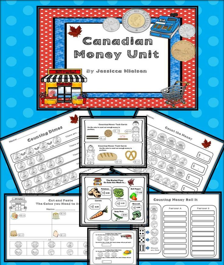 $The goal of this unit is for students to be able to identify all of the Canadian coins and to successfully count Canadian coins. This Canadian money unit includes: task cards, games, practice worksheets, cutting and pasting activities, and a math learning center which includes grocery store flyers and task cards where students count coins to purchase items on the flyers and counting change back from purchases. Answer keys included.