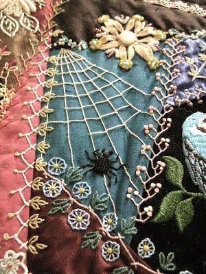crazy quilt detail, the ideaofmlots of detail, not the spider tho...
