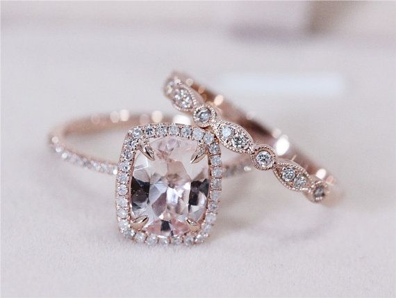 Art Deco VS 7x9mm Pink Morganite Wedding Set w/ by AbbyandWills -- I am loving the rose gold and pink gems!!!! Beautiful!