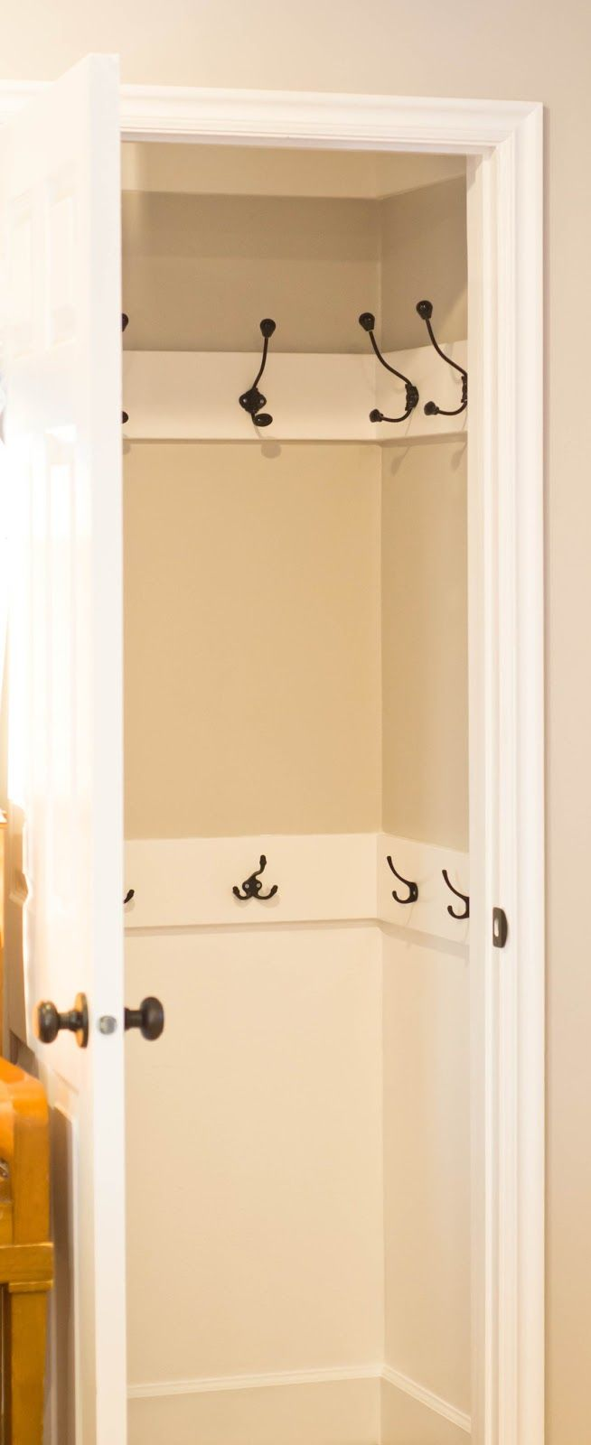 """The REAL Housewives of Riverton: Coat Closet Makeover - Doing something like this in my """"nook"""""""