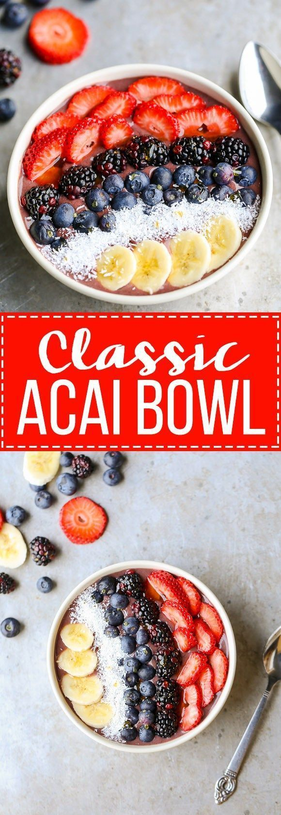 This recipe for a Classic Acai Bowl has only three ingredients and is so delicious! When making a homemade acai bowl, you can customize with your favorite toppings.