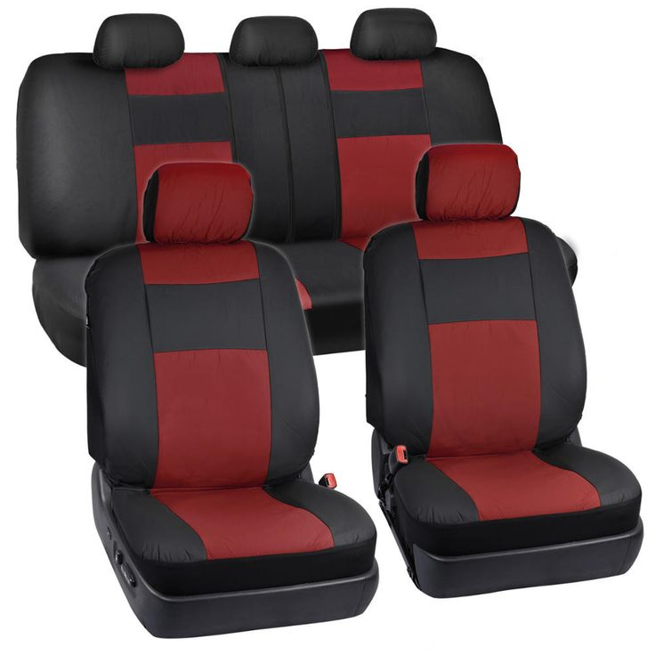 TwoTone Synthetic Leather Seat Covers for Car SUV Auto Two Tone Style - 4 Color Options