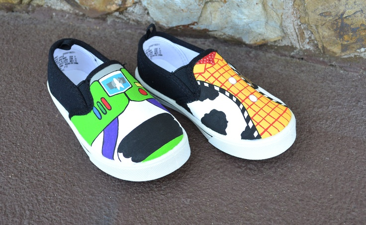 Boutique Custom Hand Painted Disney Pixar Woody And Buzz Toy Story Gym Skater Slip-On Toddler Shoes. $29.99, via Etsy.