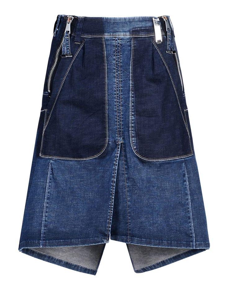 High Denim Skirt in Blue