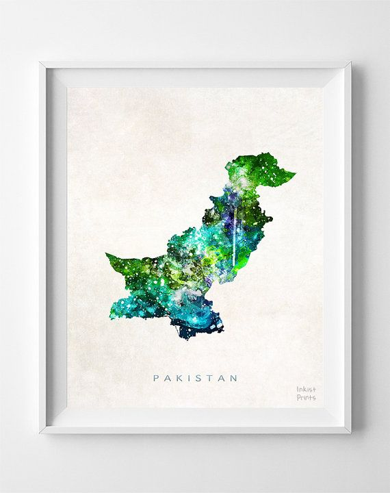 Pakistan Map Asia Print Islamabad Watercolor Home by InkistPrints