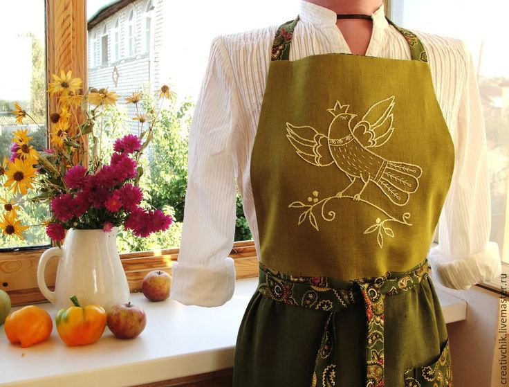 Купить Фартук Жар-птица 2 - зеленый, фартук, фартук для кухни, фартук ручной работы