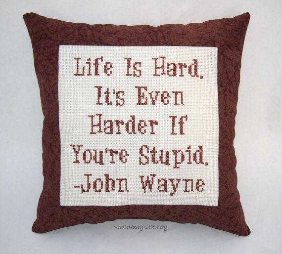 Funny Cross Stitch Pillow Brown Pillow John Wayne by NeedleNosey, $25.00