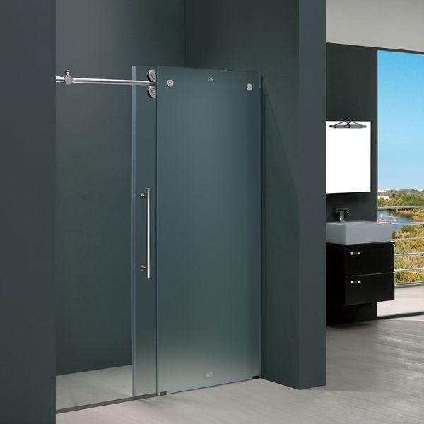 vigo 60inch frameless frosted glass sliding shower door