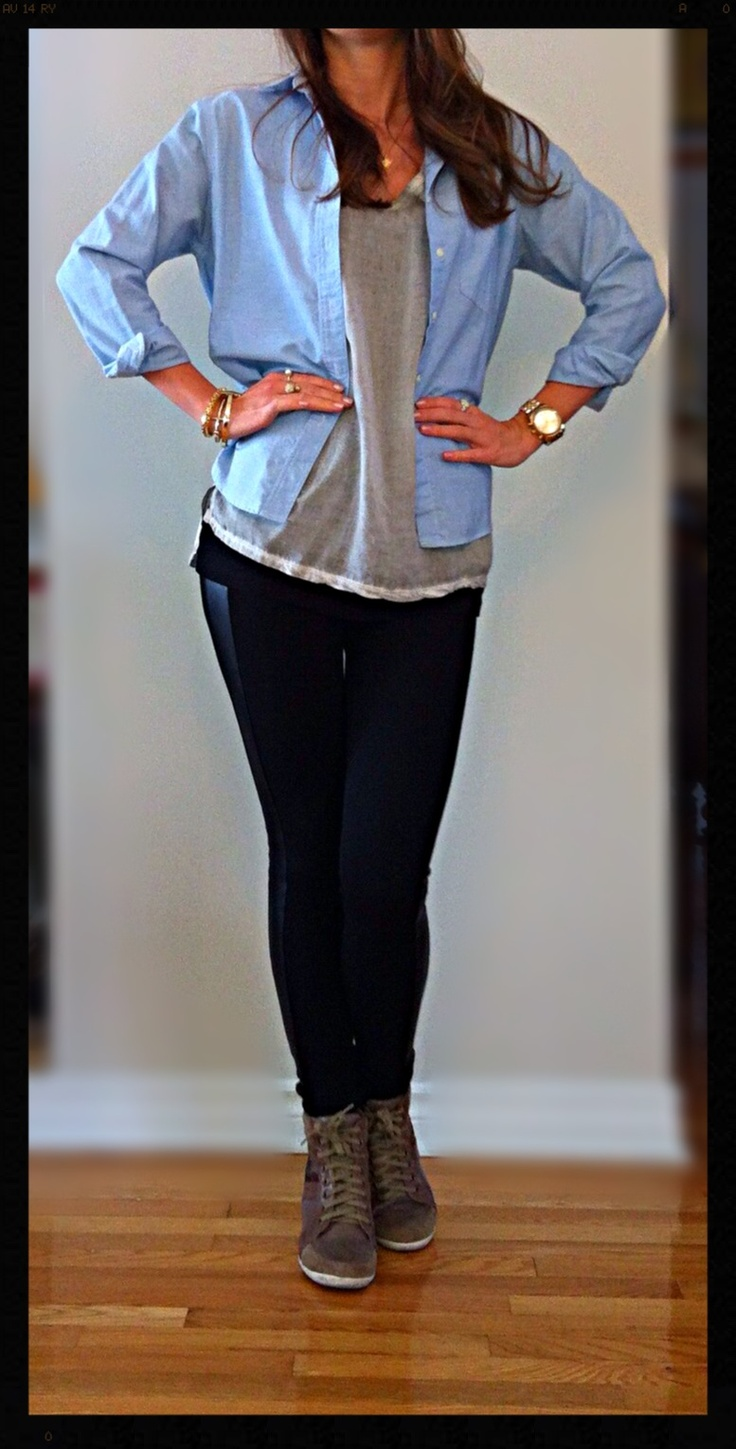 Comfy & casual- Zara black leather striped leggings & wide grey T-shirt, Keneth Cole wedge sneakers, opened light blue jean blouse, Vince Camuto gold bracelet, MK gold watch