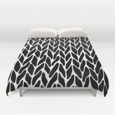 hand knitted black on white duvet cover by project m s