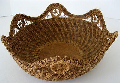 Pine Needle Basket Bowl Vintage Folk Art Ornate Hand-Woven Intricate on eBay!
