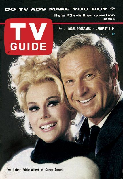"TV Guide: January 8, 1966 - Eva Gabor and Eddie Albert of ""Green Acres"""