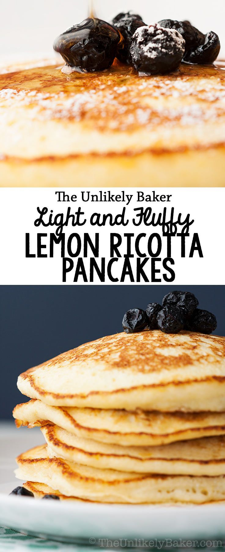 Whip up a batch of these light fluffy lemon ricotta pancakes and start the day with sunshine on a plate! Bright lemon flavor, not too sweet, soft as a cloud.