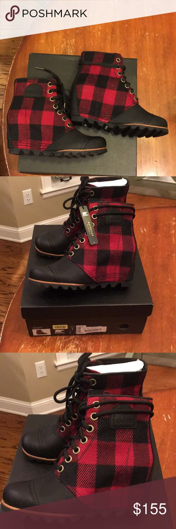 Sorel PDX Wedge NIB Size 6.5 Black/Red Sorel PDX Wedge NEW IN BOX SIZE 6.5 Black/Red. Sorel Shoes Winter & Rain Boots
