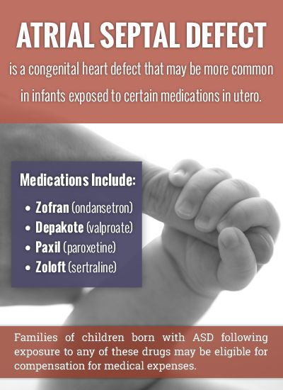 Atrial Septal Defect (a congenital heart defect) may be linked to infant exposure to Zofran, Depakote, or SSRI antidepressants (like Paxil or Zoloft) during pregnancy. // Ford & Associates