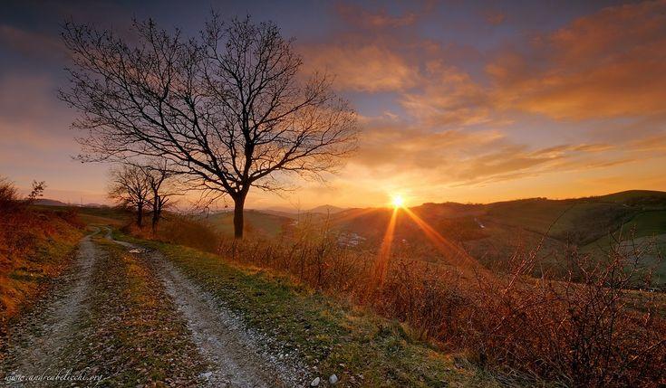 Tramonto invernale sulle colline Parmensi