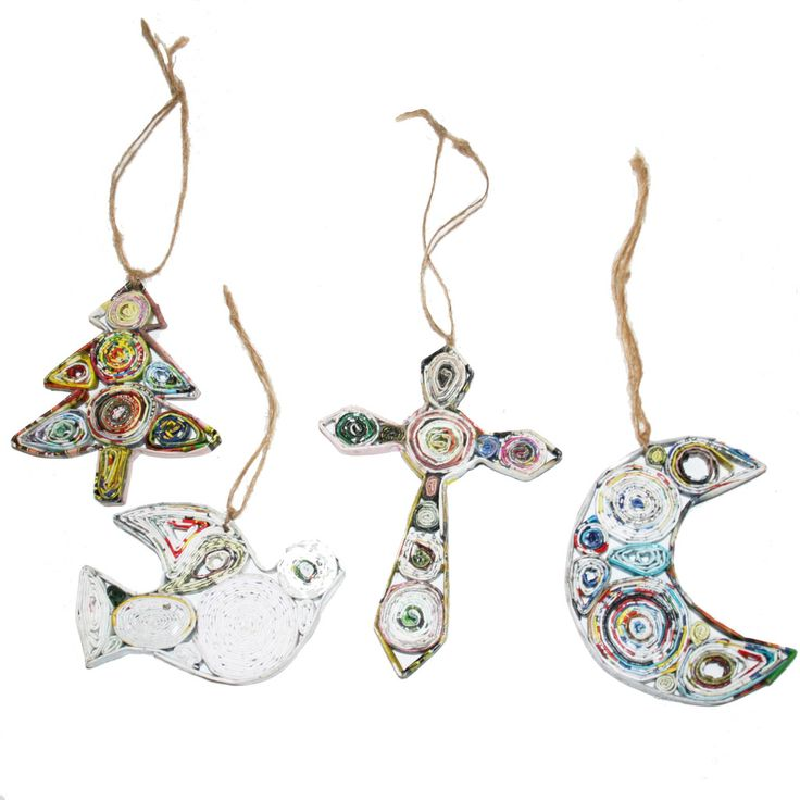 Buy these Recycled Paper Ornaments from Vietnam-Tree, Dove, Cross and Moon from www.christmaswithaheart.comHandmade
