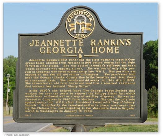 Jeannette Rankin called Bogart, GA her vacation home