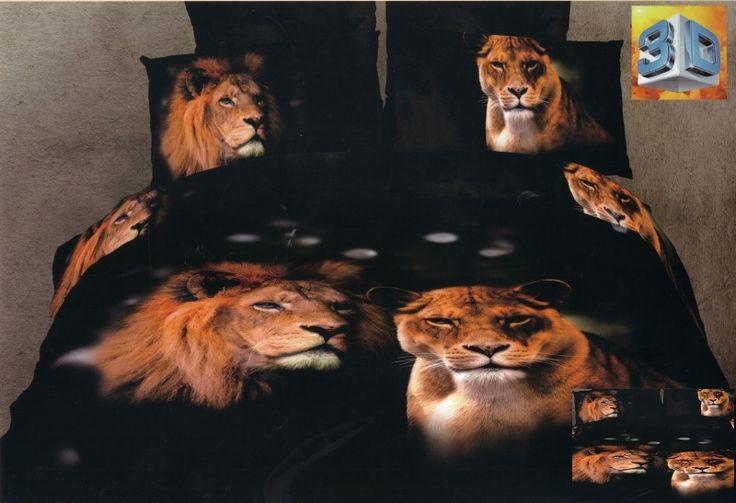 Czarna pościel bawełniana z lwami
