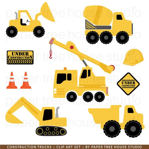 Construction Trucks Clip Art Set  9 Print von papertreehousestudio, $4.75