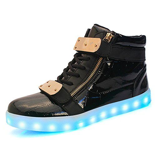Fanture 7 Colors LED Light Up Shoes USB Flashing Sneakers for Women MenS01Black38 ** Check this awesome product by going to the link at the image.(This is an Amazon affiliate link)